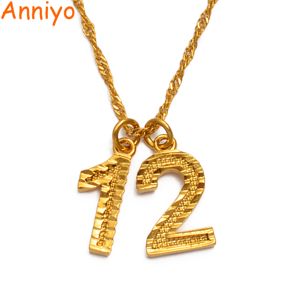 Anniyo Years Old Number Necklaces Birthday Gift Personalized Age Necklace Women Girls Mom Wife Customize Digital Jewelry #223906