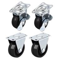 1.5 Polegada rodízios rodas placa superior de borracha montado giratória rodízio fixo roda  44lb capacidade  4 pces 2 pces giratória com freio  2 pces|Rodízios| |  -