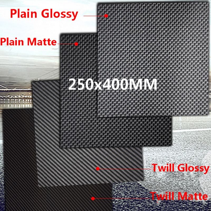 1pc 250mm X 400mm 3k <font><b>Carbon</b></font> <font><b>Fiber</b></font> Plate Panel <font><b>Sheets</b></font> 0.2mm 0.5mm 1mm 1.5mm 2mm 3mm <font><b>4mm</b></font> 5mm thickness Composite Hardness Material image