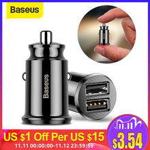 Baseus Mini Car Charger For iPhone Xr X 8 7 6 Dual USB Car Charger for Samsung Note 9 Xiaomi Mi 9 Huawei Car Phone Charger