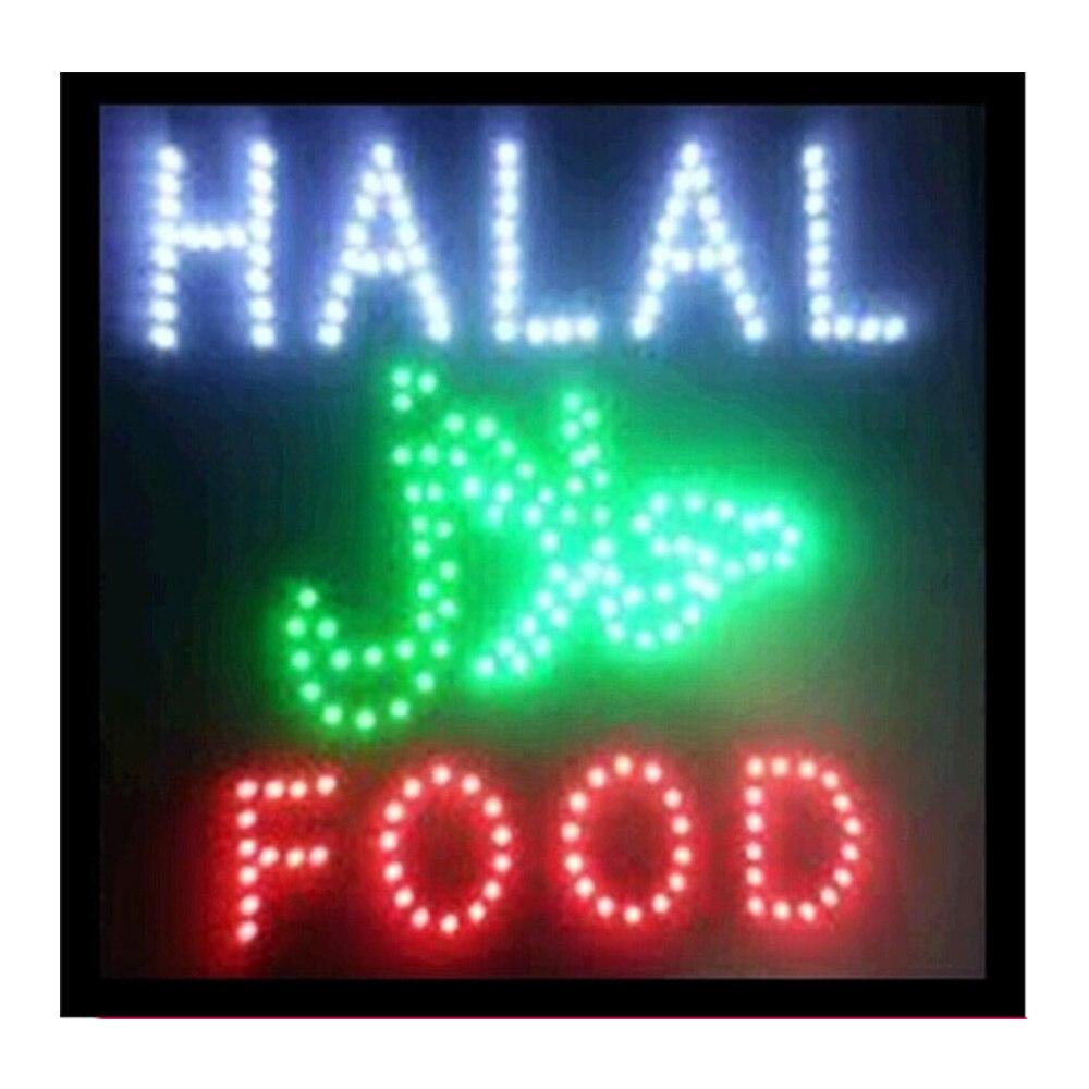 Halal nourriture Restaurant magasin d'affaires ouvert Led signe publicité signe taille 19X19 pouces idéal pour la nourriture Restaurant néon signe