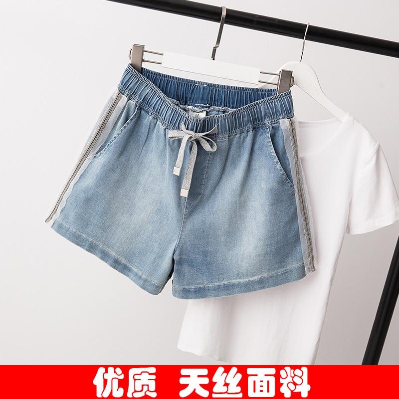Photo Shoot 2019 Summer Large Size Dress Large GIRL'S Loose Casual Denim Shorts Slimming Waist Hugging Hot Pants Women's 6860
