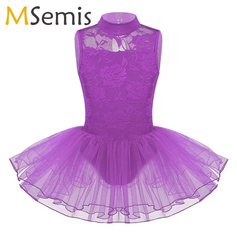 Kids Tutu Ballet Dress Ballerina Girls Mock Neck Floral Lace Keyhole Back With Zipper Closure Dance Gymnastics Leotard Dress