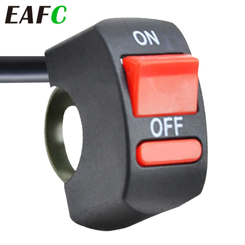 EAFC Universal Motor Stang Flameout Switch ON OFF Tombol untuk Moto Motor Sepeda ATV DC12V/10A Hitam