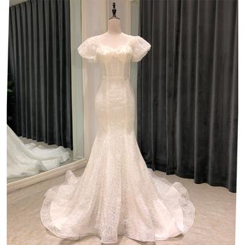 SL8143 elegancka suknia ślubna w kolorze kremowym 2020 mermaid gorset bride suknie koronkowe suknie ślubne dla kobiet plus size suknie ślubne tanie i dobre opinie SuLi Kochanie Krótki Koronki Sąd pociąg CN (pochodzenie) Długość podłogi Lace up Puff rękawem Aplikacje Frezowanie