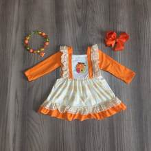 baby girls clothes girls Halloween dress girls classic dress with pumpkin print and lace hem orange dress matching bow(China)