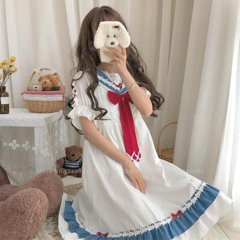 Vestido feminino estilo japonês, gola marinheiro kawaii fantasia cosplay vestido de princesa