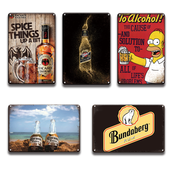 Bacardi Corona Metal Plaque Tin Sign Vintage Simpson Miller Beer Metal Poster Signs Retro Pub Bar Restaurant Home Wall Decor dad s barbecue decorative signs beer bbq plaque metal vintage wall bar home art retro restaurant decor 30x20cm du 6034a