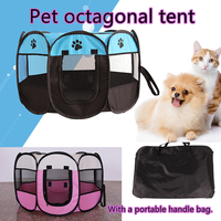 3 Size Portable Folding Dog Cat Tent with Bag Outdoor Tents Dog House Cage Playpen Puppy Kennel Easy Operation Octagon Fence