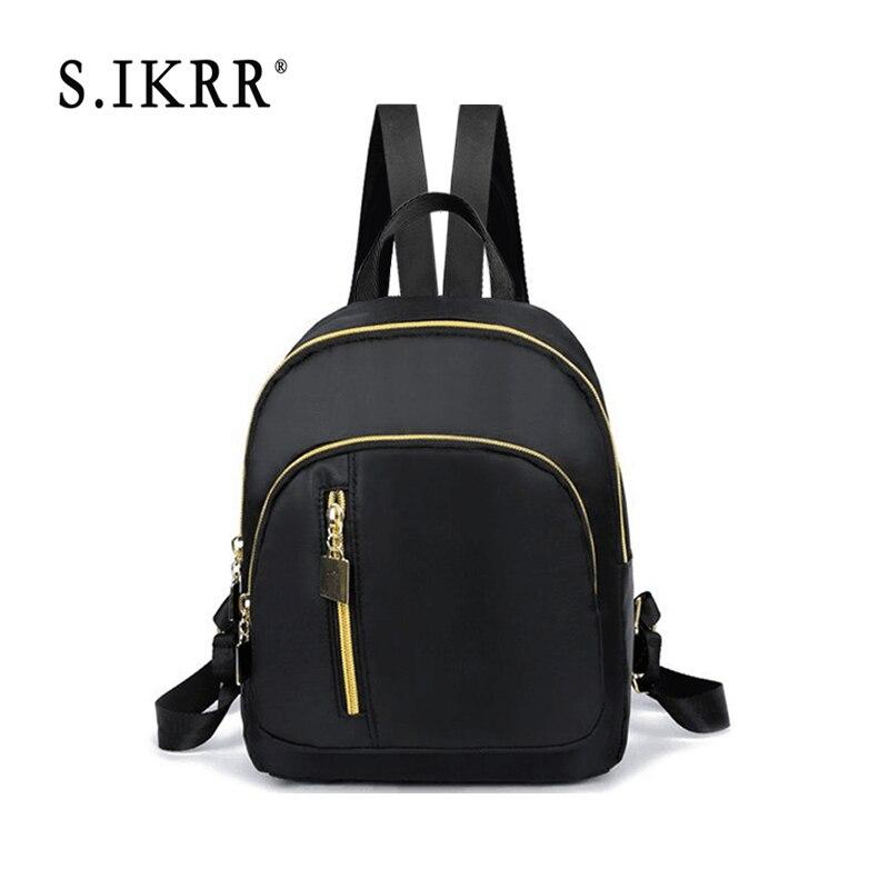 S.IKRR Fashion Women Nylon Backpack Preppy Style Casual Mini Travel Shoulder Bags Solid Women Backpack School Bag Bookbag