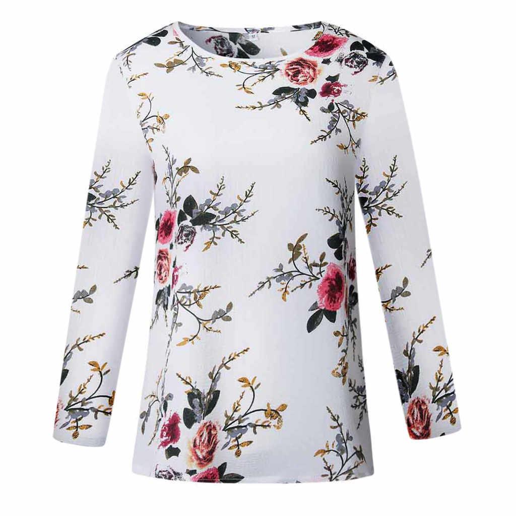 2019 популярная Осенняя модная блузка с цветочным принтом повседневные зимние свободные базовые Топы Футболка женская рубашка с длинными рукавами пуловер Blusa