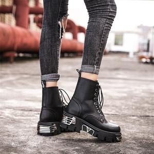 Image 5 - Женские ботильоны в стиле панк, черные ботинки на платформе 6 см, высокие военные ботинки с металлическим декором, осенне зимние женские ботинки