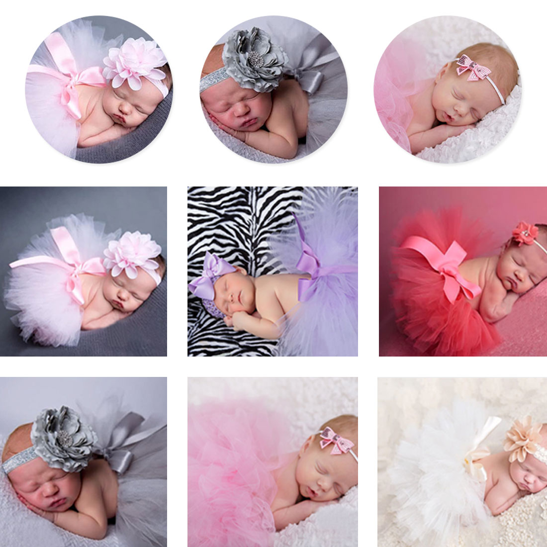 2pcs Short Skirts Headband Set Baby Girl Tulle Tutu Skirt and Flower Headband Set Newborn Photography Props Baby Birthday Gift in Skirts from Mother Kids