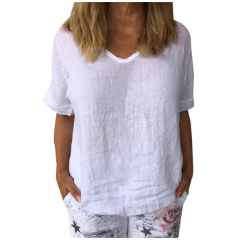 comfy Casual Cotton And Linen O-Neck Solid Short Sleeves T-Shirt 1