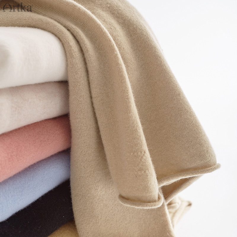 ARTKA 2019 Autumn Winter New Women Sweater Multicolor 100% Pure Wool Sweater Turtleneck Pullover Wool Knitted Sweaters YB11791D