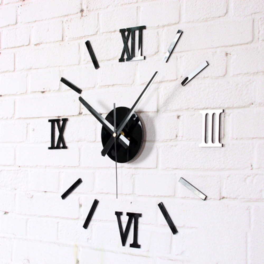 Home Decoration Meters Large Roman Numerals Affixed Mirror Fashion Personality Diy Creative Living Room Wall Clock Watch