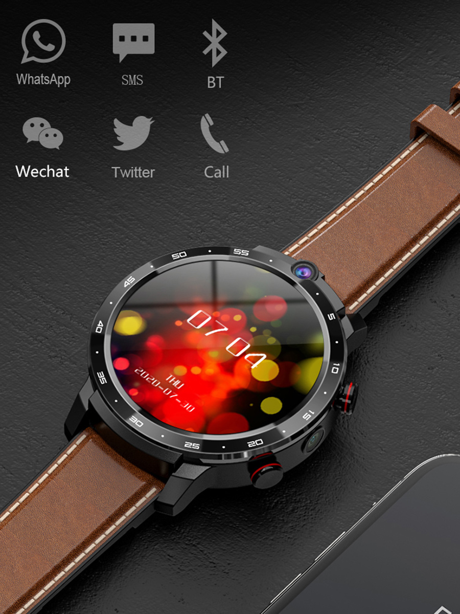 Smart-Watch Bank Face-Id-Dual-Cameras Android LEMADO Lem12 Pro GPS 4G with Men Projection