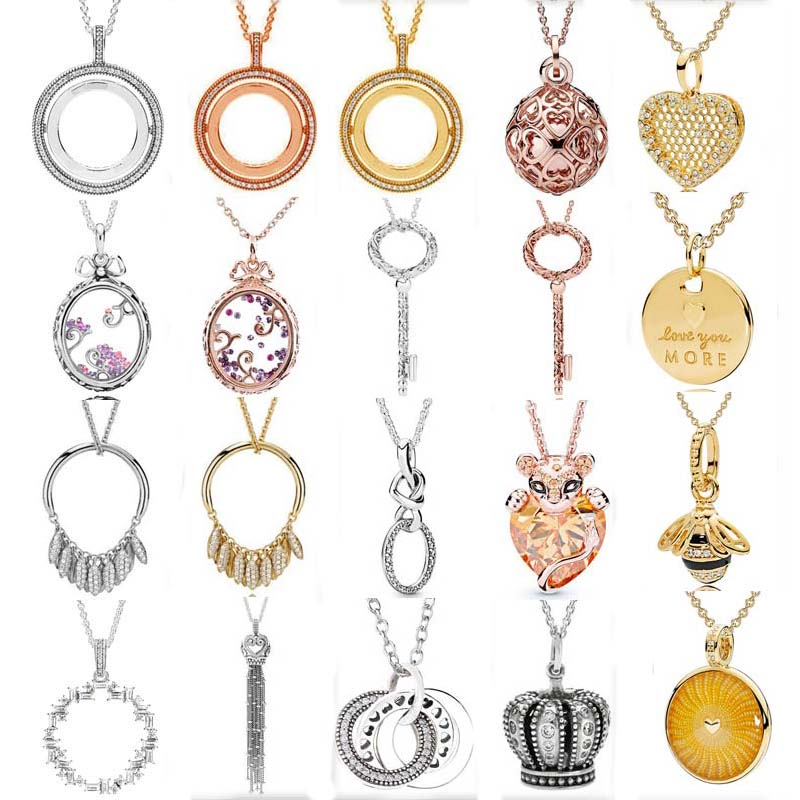100% 925 Sterling Silver Rose Lioness Signature Spinning Hearts Dazzling Regal Pattern Necklace Fit Fashion Charm Trendy Jewelry