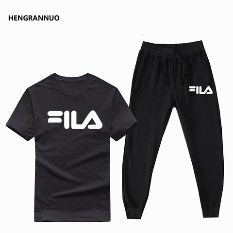 Summer Men Sets T- Shirts+pants Two Pieces Sets Casual Tracksuit Male T-shirt Gyms Fitness  Jogging trouser sports men sets 2019 Pakistan