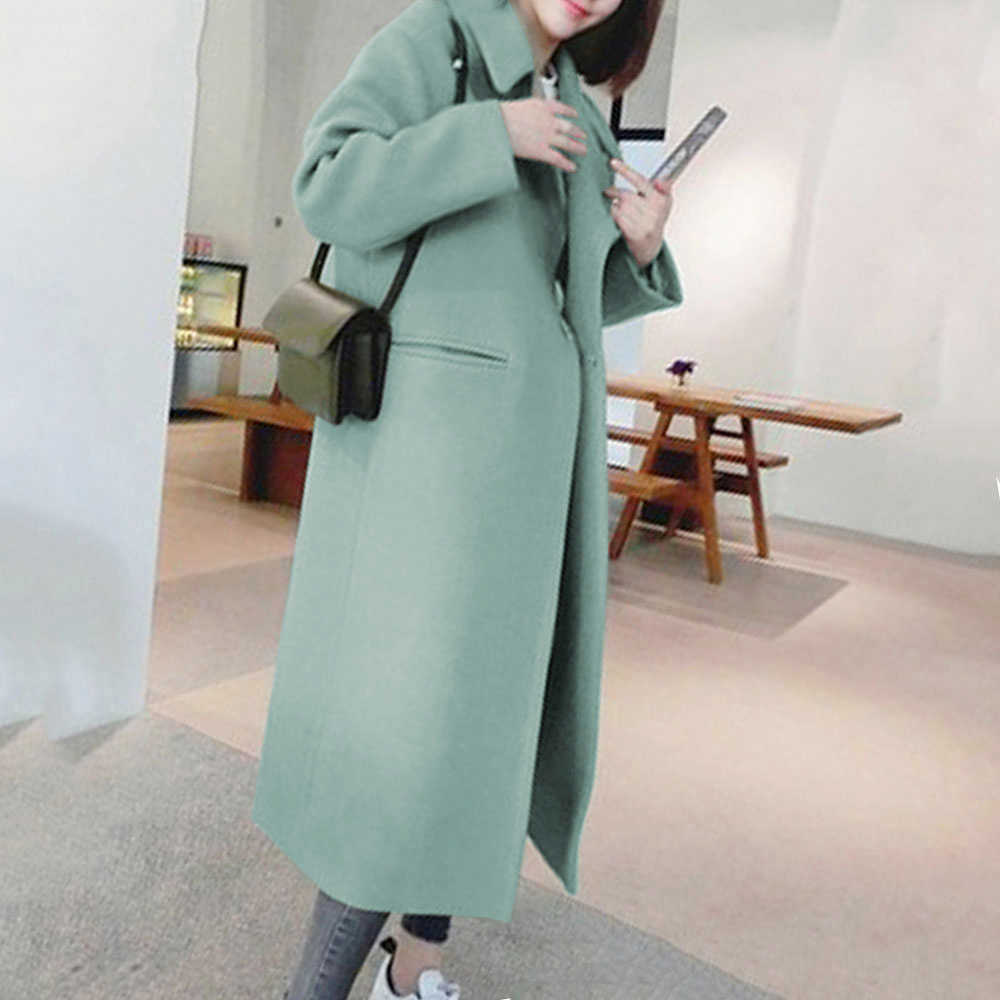 Winter Blends Pocket Ladies Casual Wool & Blend Solid Color Long Coat Turn-down Collar Warm Tops Mujer Streetwear Outwear Abrigo