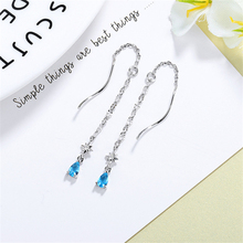 2019 Trendy Blue Ocean Crystal Water Drop Tassel Earrings 925 Sterling Silver Women Statement Jewelry Brinco SE759