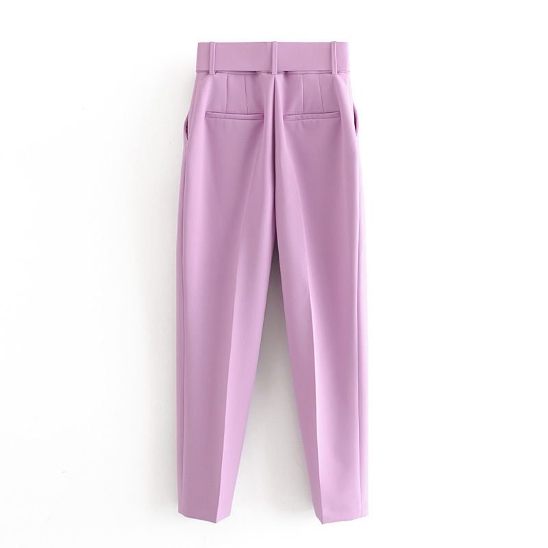H496bf201c24f4b9aa67447b5a49a80c59 - Office Lady Black Suit Pants With Belt Women High Waist Solid Long Trousers Fashion Pockets Pantalones FICUSRONG Pencil