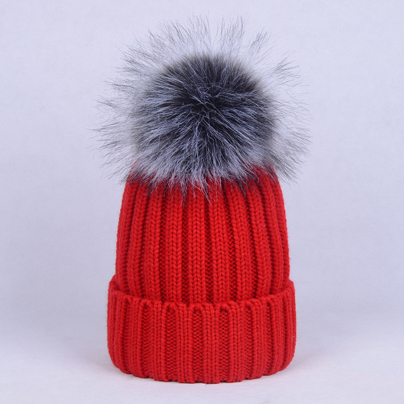 Cotton Solid Beanies For Ladies Girls Casual Winter Women Hat 2019 With Fur Pompom Red Black Knitted Caps Women Beanies