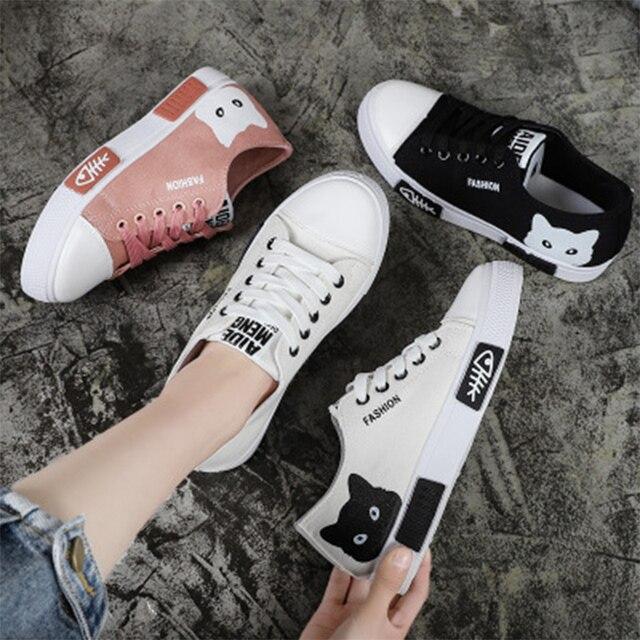2020 zapatillas de lona vulcanizadas para mujer, zapatillas de plataforma para mujer con Gato de dibujos animados, zapatos de mesa para mujer, zapatos de punta redonda de talla grande 41 5