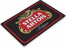Stella artois bélgica cerveja retro pub bar beber homem caverna retro estanho metal sinal