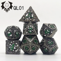 Hot Sale 7pcs/set of 17 Colorful Multi-sided Hollow Dice Metal Zinc Alloy Multi-sided TRPG Game Dice Set Board Game Hollow Dice