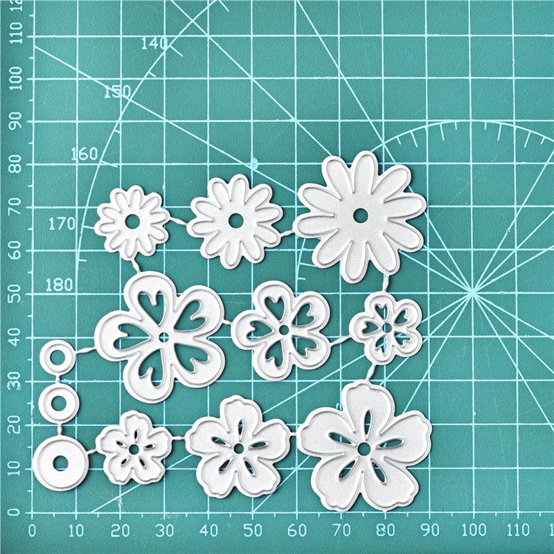 YaMinSanNiO 12Pcs Flowers Metal Cutting Dies Daisy DIY Etched Dies Craft Paper Card Making Scrapbooking Embossing New 2019