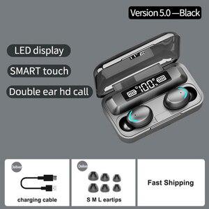 Image 5 - Bluetooth 5.0 fones de ouvido F9 5 tws fone de ouvido sem fio 8d baixo estéreo in ear fones handsfree fone de ouvido com microfone caso de carregamento