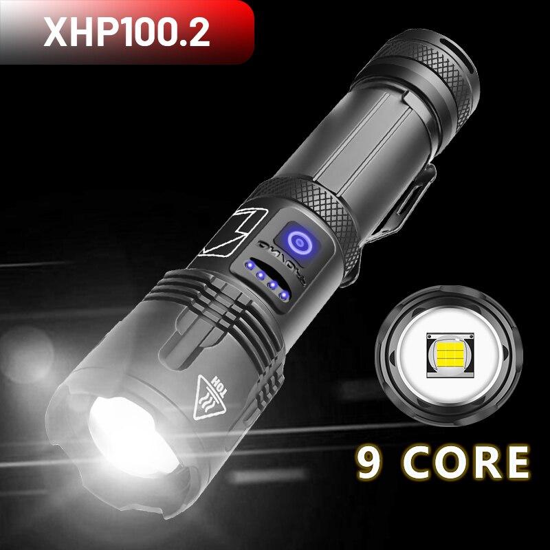 Linternas Linterna potente XHP100.2 LED recargables por USB, linternas XHP70.2 de 800000LM con Zoom resistente al agua, 5 modos de uso, batería de 5000mAh|Linternas y antorchas| - AliExpress