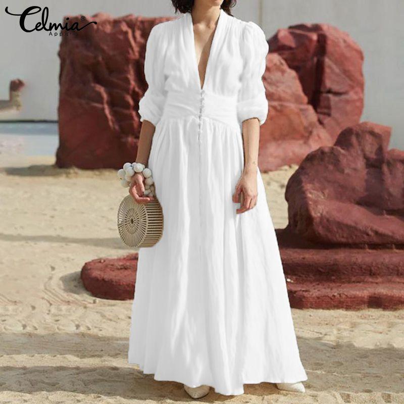 Celmia Women Elegant Long Dress 2020 New Pleated White Maxi Dress Casual Button V Neck High Waist Split Party Vestidos Plus Size