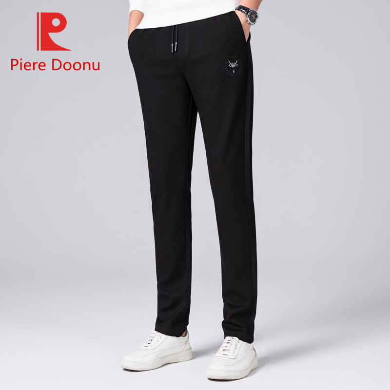 Autumn And Winter New Style Young And Middle-aged Casual Trousers Men Straight-Cut Lace-up Athletic Pants Solid Color Men's Trou