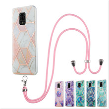 Marble Hanging Rope Phone Case For Xiaomi Mi 10X 4G Redmi Note 9 Pro Max Note 9S 9A Cases With Lanyard Soft IMD Back Cover Capa