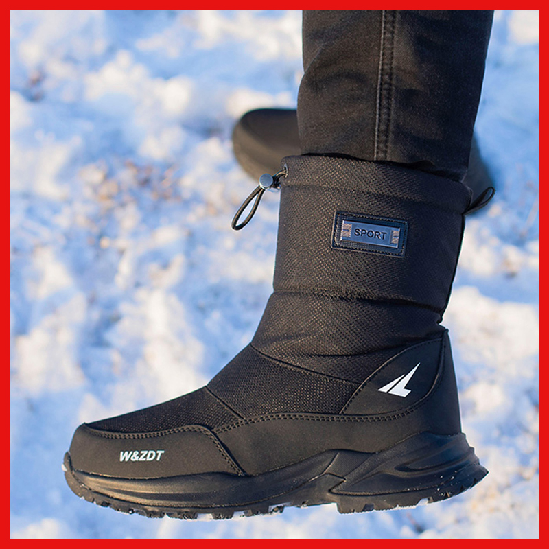 Men boots 2019 winter shoes men snow boots waterproof non-slip thick fur winter boots for -40 degrees image