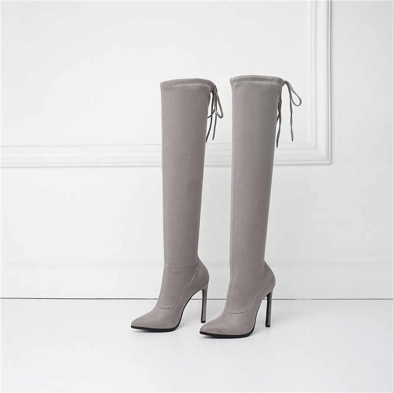 ANNYMOLI automne cuissardes bottes femmes Slim Stretch mince talon sur le genou bottes Sexy extrême haut talon longues chaussures femme 34-43