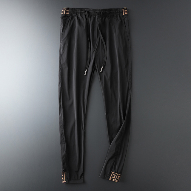 2019 Mens Luxury Jogger Pants New Brand Drawstring Sports Pant Men Stitching Thin Section Ribbon Personality Casual Trousers 17