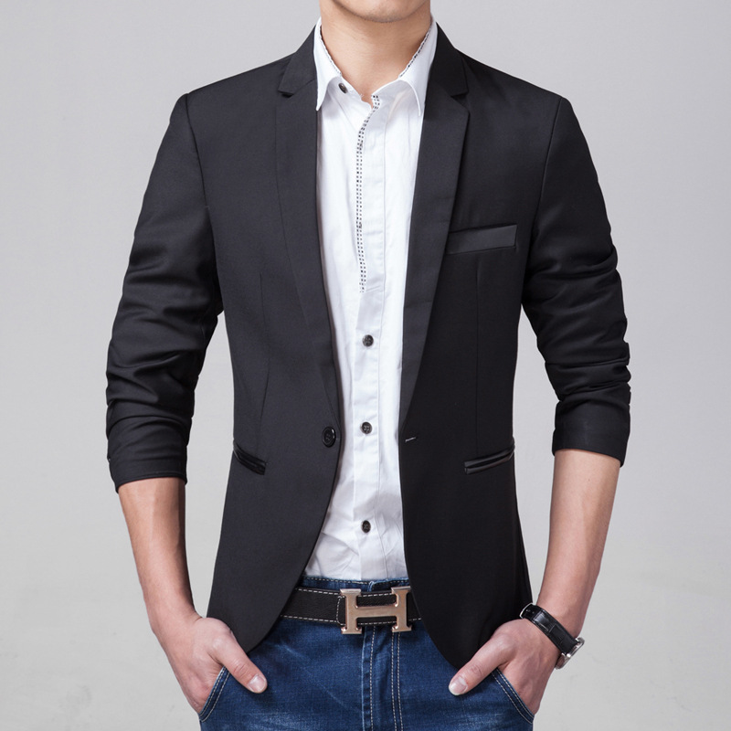 Business Leisure Suit Korean-style Slim Fit Inlay Leather Suit Black Coat Men's Small Suit Youth Men'S Wear
