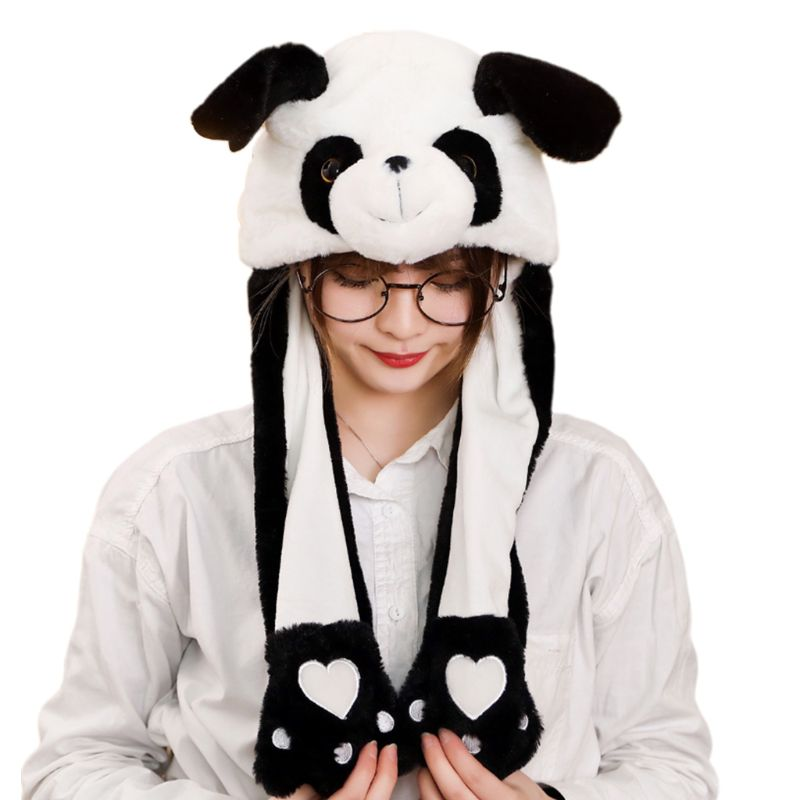 Children Adult Short Plush Cute 3D Cartoon Panda Animal Hat With Moving Ears Double Airbag Paws Warm Earflap Cap Party Props