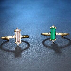 Image 4 - ALLNOEL anillo minimalista de piedras preciosas para mujer, Plata de Ley 925, Ágata verde, joyería de Cuarzo Rosa, Color amarillo dorado, diseño abierto