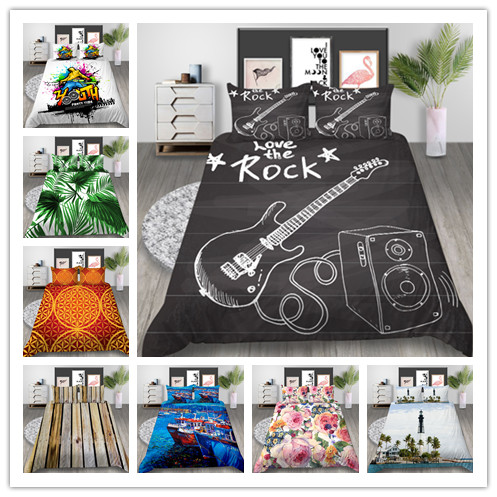 3D Digital Printing  Bedding Sets Music Dream And Creative Pattern And Flowers Printed Duvet Cover Twin Full Queen Size