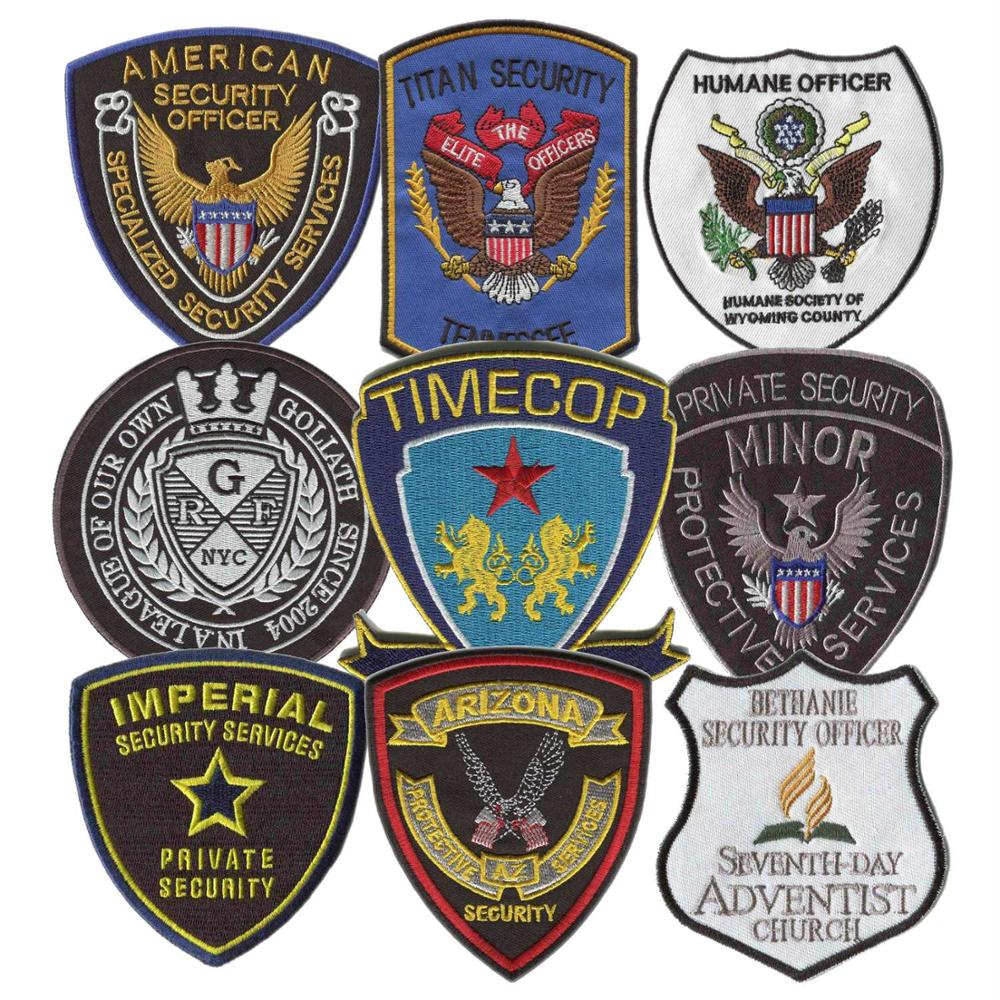High Quality Custom Security Patches Embroidery Patches For Clothing Iron On Backing Uniform Patch