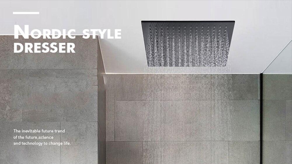 H496d3684541b4acbbeb0e35395069117Z Waterfall Matte Black Bathroom Shower Faucet Black Digital Shower Faucets Set Rainfall Shower Head Digital Display Mixer Tap