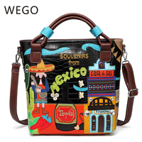 2019 Retro crocodile pattern portable diagonal package Mexican embroidery creative package embroidered bucket bag