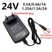 Adaptador de fonte de alimentação universal, 24 v 24 volts ac dc 24 v 0.5a 500ma 0.6a 600ma 1a 1.25a 1250ma 1.5a adaptador 2a ac/dc de comutação