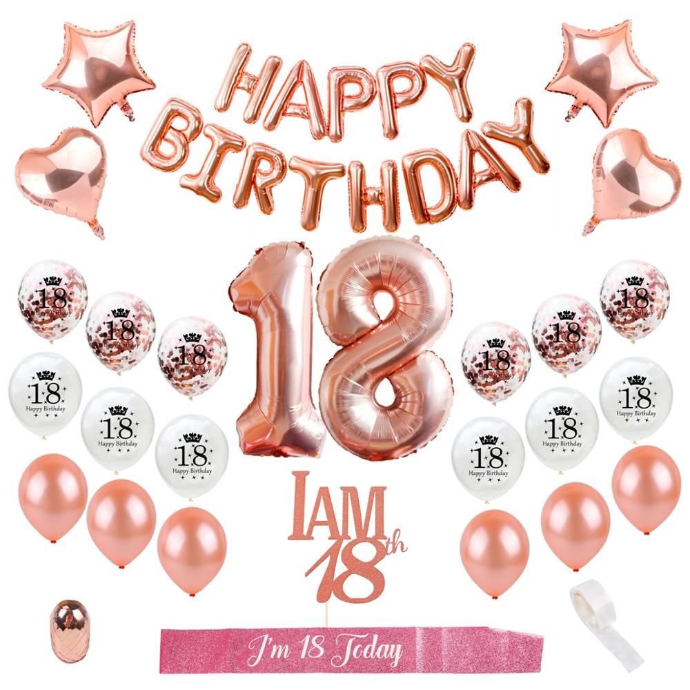 PATIMATE Happy <font><b>Birthday</b></font> Balloons Rose Gold Foil Baloon 18 <font><b>Birthday</b></font> Party <font><b>Decor</b></font> Adult <font><b>18th</b></font> <font><b>Birthday</b></font> <font><b>Decor</b></font> Number Ballon Air Balls image