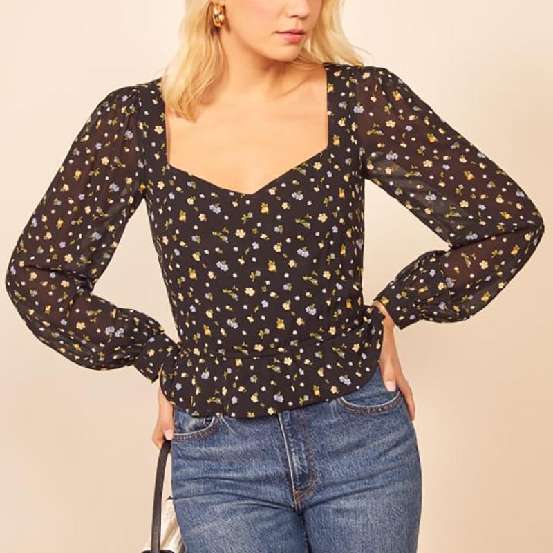 Summer Women's Shirt Casual Flower Print Shirt