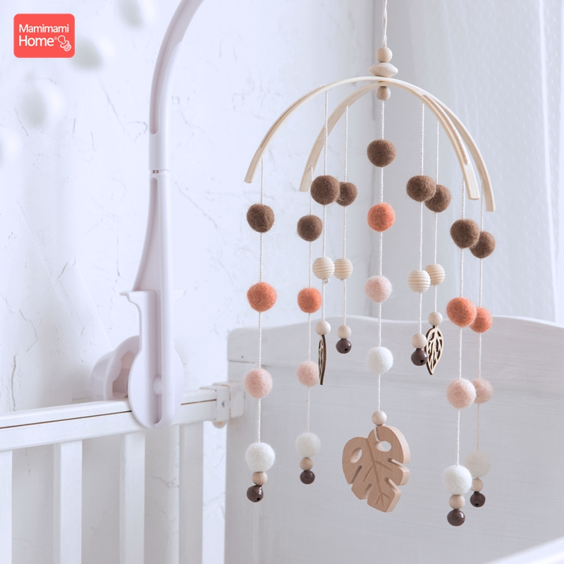 Mamihome 1pc Baby Wooden Teether Bed Bell Beech Rodent Pendant Wool Balls Rattles Kid Room Bed Hanging Decor Children Goods Toys